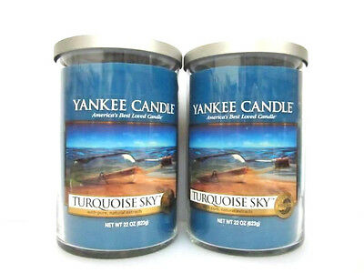 Yankee Candle Turquoise Sky Large 2 Wick Tumblers 22oz Candle Set Of 2