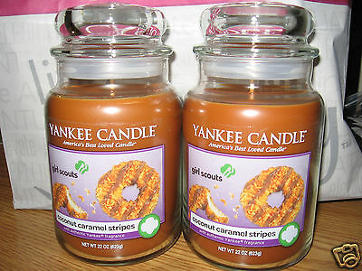 Yankee Candle Girl Scout Cookies Coconut Caramel Stripes X2 Large 22oz Jars
