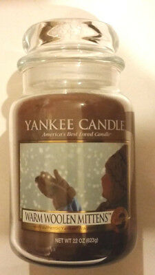 Yankee Candle Warm Woolen Mittens 22oz Large Jar Candle Rare & Hard To Find