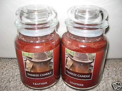 Yankee Candle Leather Set Of Two (2) Large Jar 22oz Candles Rare