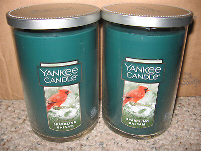 Yankee Candle Sparkling Balsam Large 2 Wick 20 Oz Tumblers Set Of 2 Cardinal