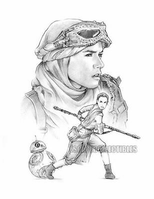 Rey Star Wars Original Art W/coa By Dave Nestler