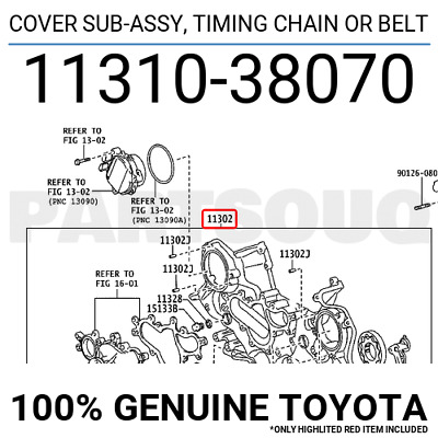 1131038070 Genuine Toyota Cover Sub-assy, Timing Chain Or Belt 11310-38070
