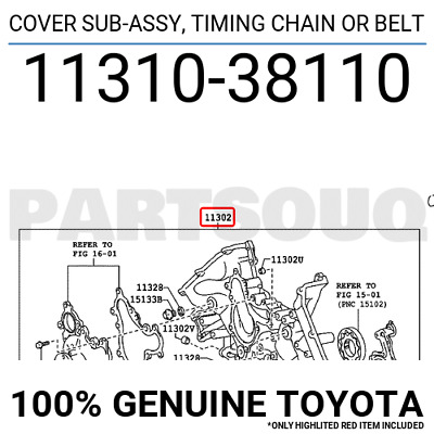 1131038110 Genuine Toyota Cover Sub-assy, Timing Chain Or Belt 11310-38110