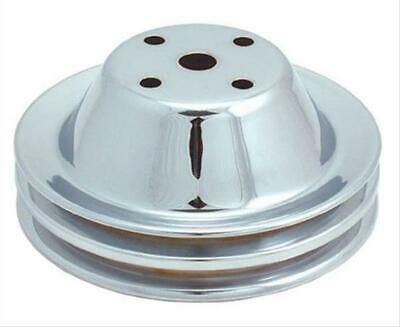 """Spectre Water Pump Pulley Steel Chrome Double Groove 6.375"""" Dia Sbc Long Pump Ea"""