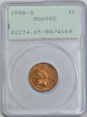 1908 S 1c Indian Head Cent Pcgs Ms 65 Rd Uncirculated Red Rattler Holder