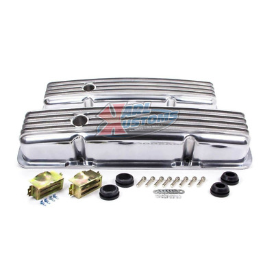Sbc Small Block Chevy 327 350 383 Short Polished Aluminum Finned Valve Covers