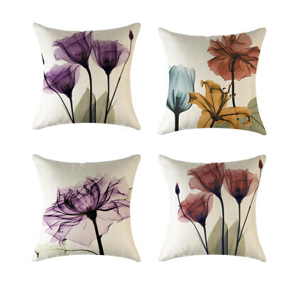 4piece Flowers Cotton Linen Square Pillowcase Car Home Throw Pillow Cover