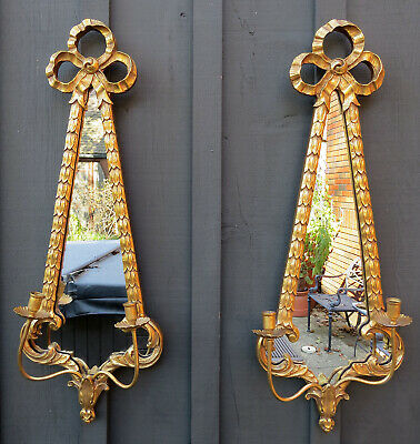 "34"" Pair Friedman Brothers Gold Gilt Mirror Candle Holders Wall Sconces"