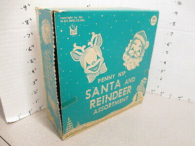 W&f Co 1950s Wax Candy Box 120ct Store Display Santa Claus Reindeer Christmas
