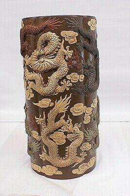 Chinese 19th Century Original - Yixing Clay 4-color Dragon Monumental Vase Rare