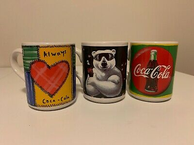 Lot Of 3 Vintage 1998 Coca-cola Coffee Cups. Polar Bear. Gibson Housewares Coke