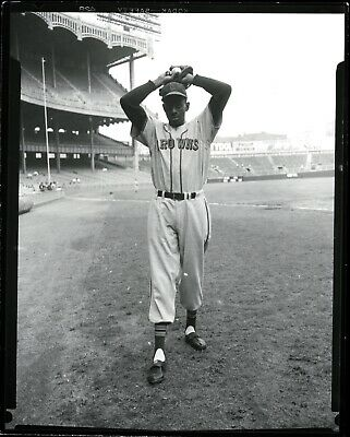 Satchel Paige 1951 Yankee Stadium Stl Browns Type 1 Original Photo Crystal Clear