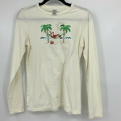 Christmas Shirt Womens Small Long Sleeve Santa Tropical Palm Tree Sparkle *read*