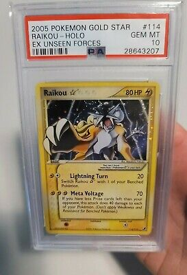 Pokemon Ex Unseen Forces RAIKOU GOLD STAR PSA 10