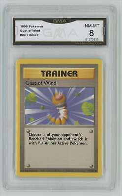 1999 Pokemon Base Set Unlimited #93 Gust Of Wind Graded GMA 8 Nm-Mt L2