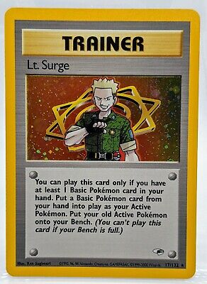 HOLO Trainer Lt. Surge 17/132 ⚡ Gym Heroes Holo Pokemon Card Mint Never Played