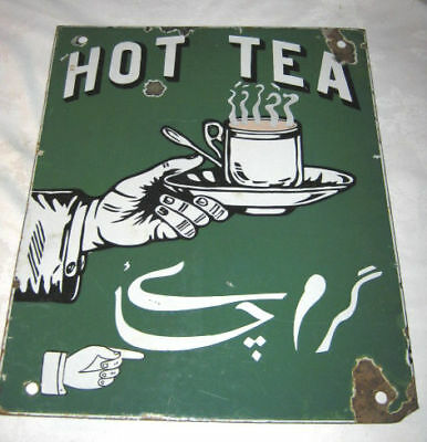 Antique Usa Coffee Shop Hand Hot Tea Cup Spoon Porcelain Advertising Art Sign