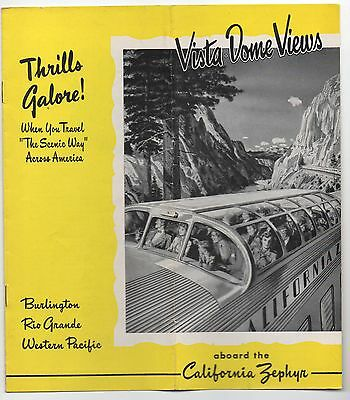 1950 Western Pacific Railroad Brochure For The California Zephyr Vista Dome
