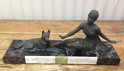 Balleste Sculpture Marble Lady Dog German Shepherd French Bronze Molins-balleste
