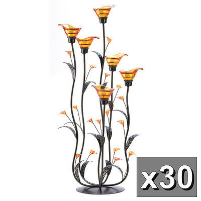 """30 Amber Calla Lilly Candle Holder Wedding Decoration Centerpieces 24 1/4"""" Tall"""