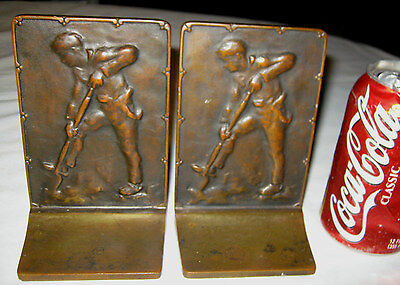 Antique Bronze Griffoul Country Farmer Planting Seed Shovel Sculpture Bookends