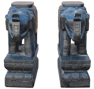 Chinese Pair Black Color Stone Trunk Up Elephant Figures Cs2190