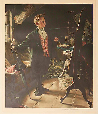 Listed American Artist Norman Rockwell Signed Original Color Lithograph