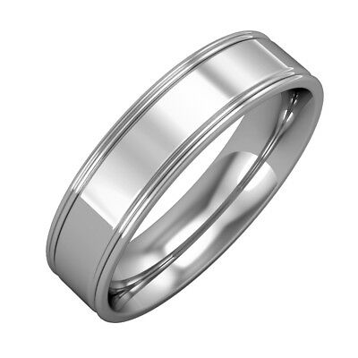 jewelco london 18ct white gold 5mm flat court track edge wedding band ring