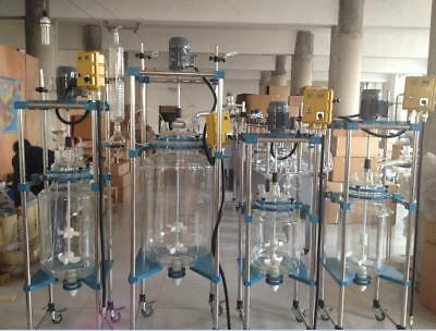 50l Lab Jacketed Glass Chemical Reactor Vessel Digital Display Customizable E