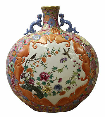 Chinese Famille Rose Dimensional Flower Bird Bats Flat Flask Vase Cs3031
