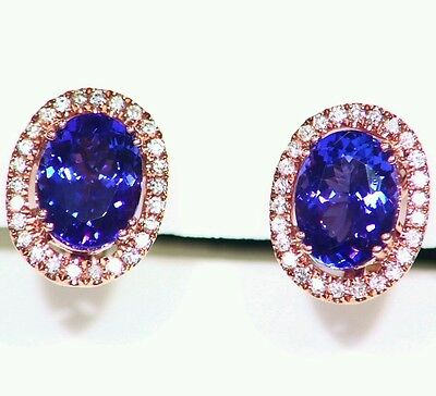4.45ct 14k Gold  Natural Tanzanite White Diamond Vintage Aaa Engagement Earrings