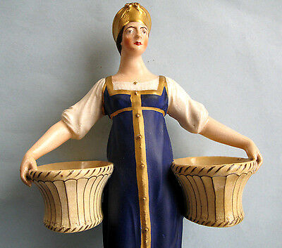 Rare Large Imperial Russian Porcelain Figure Of Woman Carrying Baskets C 1840