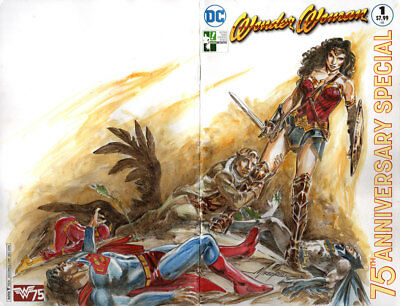 Wonder Woman #1 Hero Initiative Variant Cgc 9.4 Ss Signed & Sketch Mike Grell!!