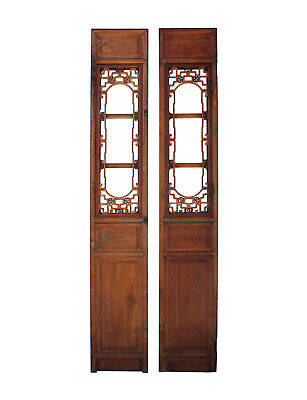 Pair Of Vintage Chinese Window Opening Tall Wood Panel Screens Cs3248