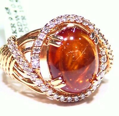 Vintage Designer 14k Gold Natural Tourmaline Cut Diamond Engagement Ring Retro