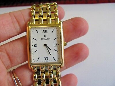Nice Vintage Concord 18k Yellow Gold Real Gold-working Wrist Watch-original Band