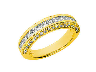 genuine 1.80ct diamond wedding band ring 18k yellow gold g si1 channel prong set