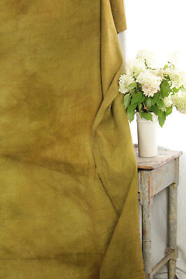 Linen Sheet Antique French Dyed Gold Chartreuse Heavy Throw 92 X 83 Inches