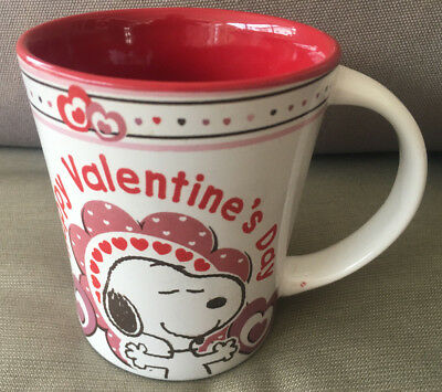 Coffee Mug Cup Happy Valentines Day Snoopy Peanuts Hearts Red Pink White Love