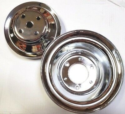 Bb Chevy Chrome Steel 2 / 3 Groove Long Pump Pulley Kit Upper & Lower  396 454