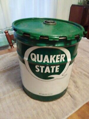 Vintage 5 Gallon Oil City Pa Quaker State Nice Used Can Quadrolube Sae 80w/90