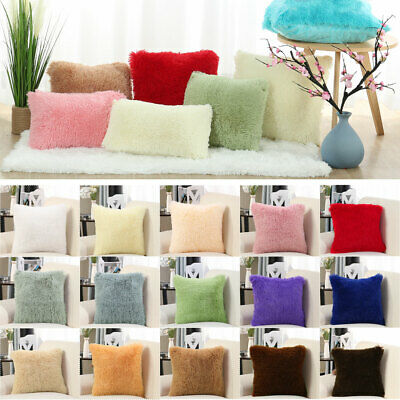 Faux Fur Throw Pillow Cover Fluff Cushion Cover Soft Pillow Case For Sofa Couch
