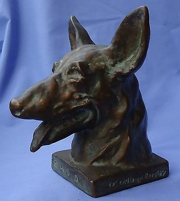 1930 German Shepherd Mcclelland Barclay Bronze Buddy Gsd Signed Dog