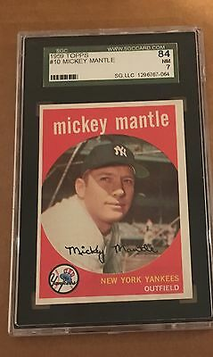 1959 Topps Mickey Mantle #10 Sgc 84(7) Nm High End Card Ny Yankee Free Shipping