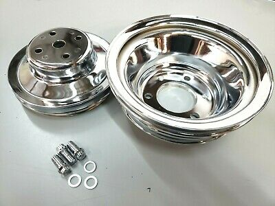 Bbc Big Block Chevy Chrome Steel Long Water Pump Pulley Kit 396 427 454 1965-86