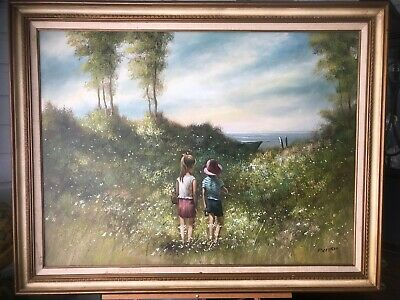 P. Citrin Signed Oil Painting Children Walking To Fishing