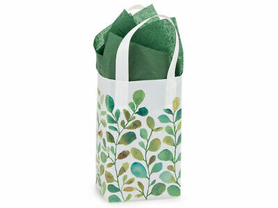 Watercolor Greenery Plastic Rose Size Gift Bag Choose Tissue & Pack Amount