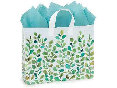 Watercolor Greenery Plastic Vogue Size Gift Bag Choose Tissue & Pack Amount