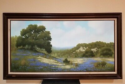 "Larry Prellop Signed Original Oil On Canvas Bluebonnet Painting 48"" × 24"" Framed"